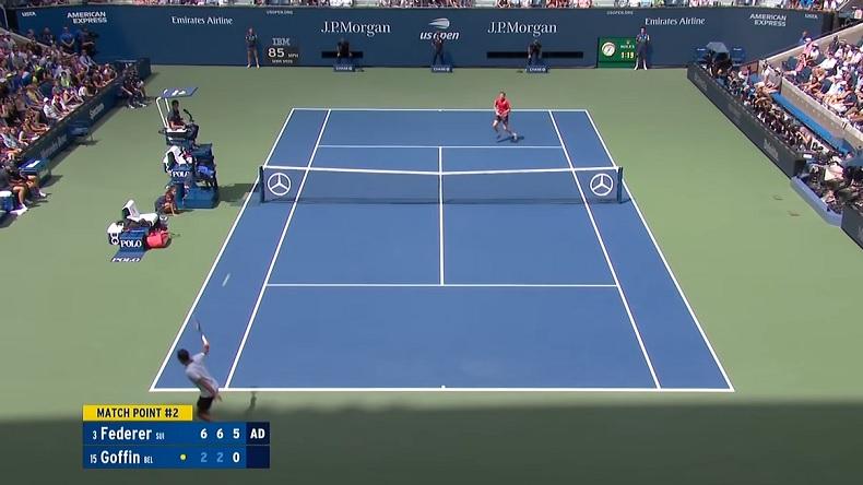 La balle de match magnifique entre Federer et Goffin à l'US Open 2019.
