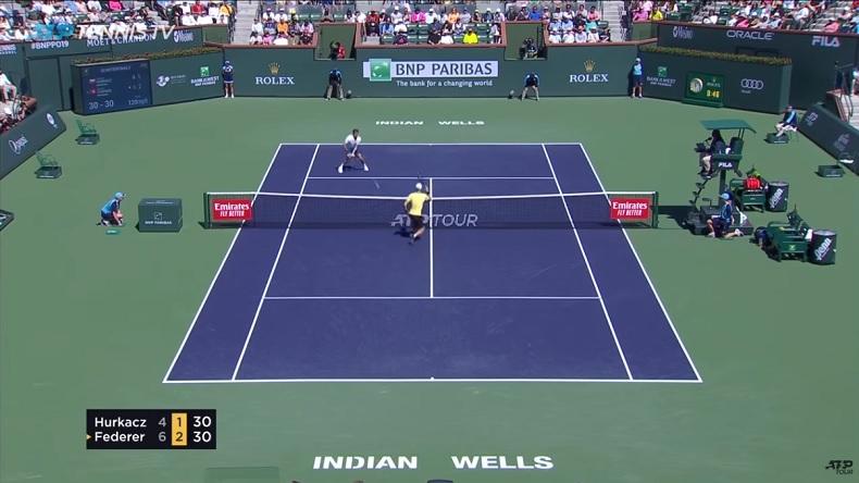 Hubert Hurkacz a fait connaissance avec Roger Federer à Indian Wells.