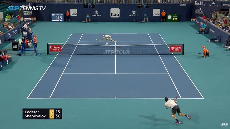 Roger Federer a livré une démonstration contre Denis Shapovalov à Miami.