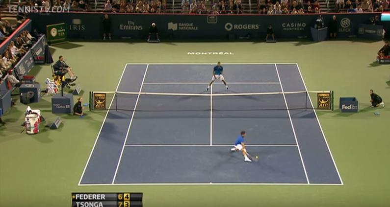 Une défense de légende de Roger Federer.