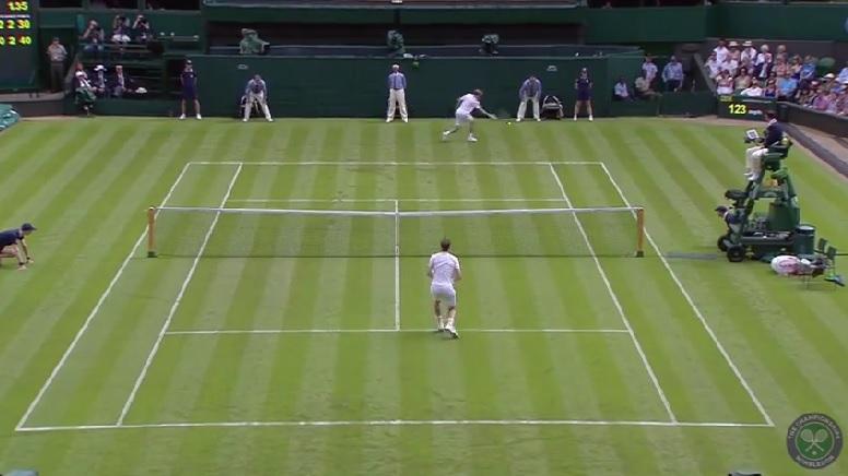 L'énorme passing-shot de David Goffin à Wimbledon 2014.