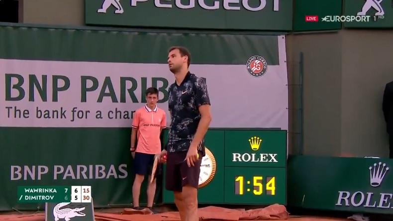 """Grigor Dimitrov n'a pas apprécié qu'un spectateur l'appelle """"Baby Fed"""" à Roland-Garros 2019."""