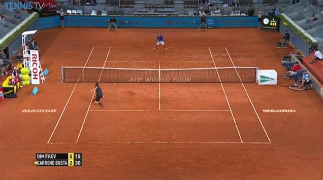 La contre-amortie splendide de Grigor Dimitrov au premier tour du Masters 1000 de Madrid 2014.