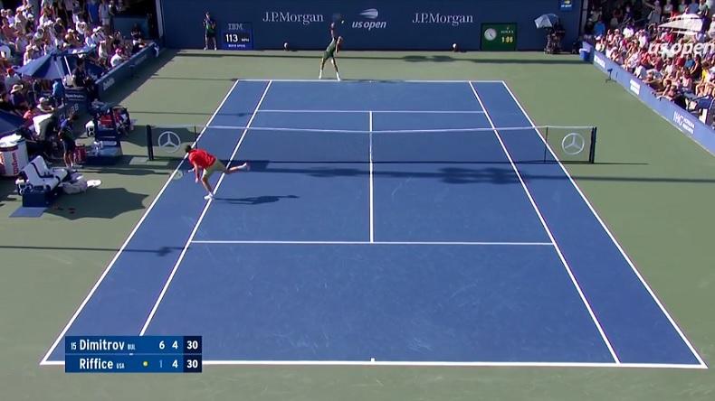 Le réflexe exceptionnel de Grigor Dimitrov pour contrer un smash au premier tour de l'US Open 2021.