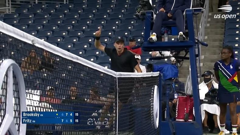 La réaction de Jenson Brooksby après son point génial contre Taylor Fritz à l'US Open 2021.