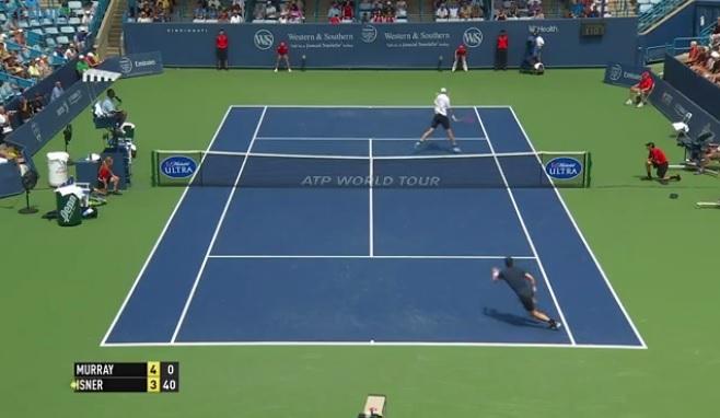 Le délicieux toucher de John Isner au filet contre Andy Murray au Masters 1000 de Cincinnati 2014.