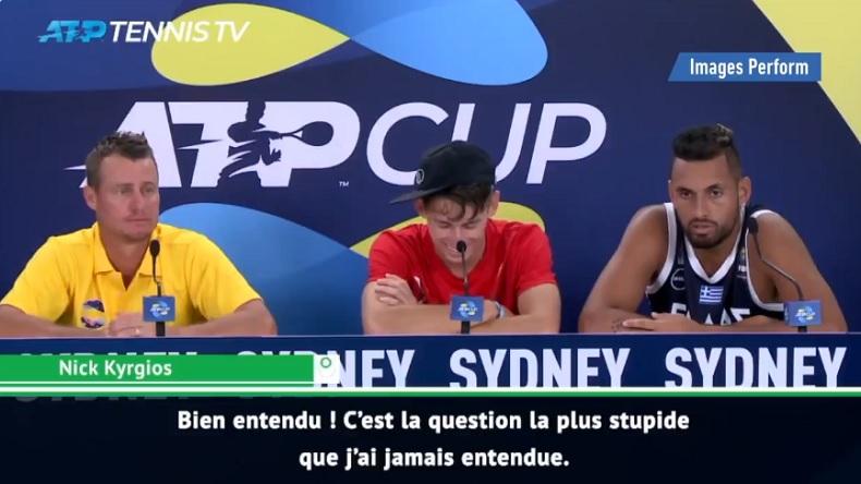 La réponse sèche de Nick Kyrgios à un journaliste à l'ATP Cup 2020.