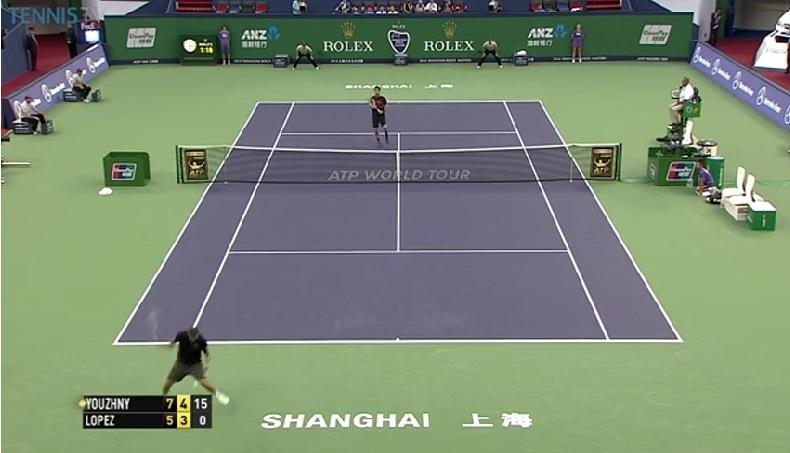 Peut-être le point du Masters 1000 de Shanghai 2014 entre Mikhail Youzhny et Feliciano Lopez.