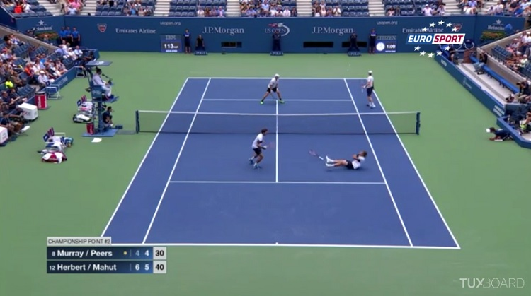 Nicolas Mahut et Pierre-Hugues Herbert remportent l'US Open 2015 sur un point de fou.