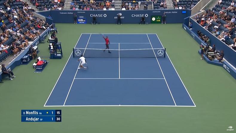 Un point énorme de Gaël Monfils contre Pablo Andujar à l'US Open 2019.