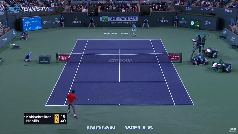 Ce coup droit de Gaël Monfils contre Philipp Kohlschreiber à Indian Wells est parti à 159 km/h.