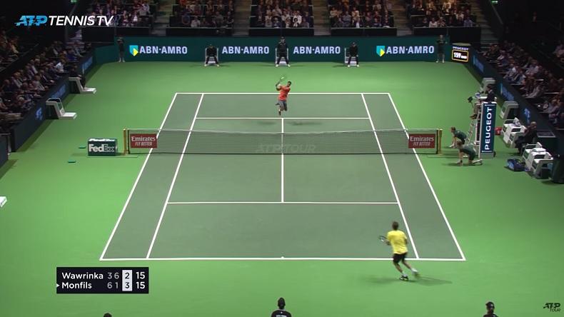 Gaël Monfils dans ses œuvres face à Stan Wawrinka en finale du tournoi de Rotterdam 2019.