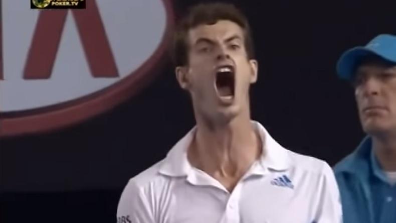 La réaction d'Andy Murray après ce point monstrueux contre Marin Cilic, qui lui offre le break en demi-finales de l'Open d'Australie 2010.