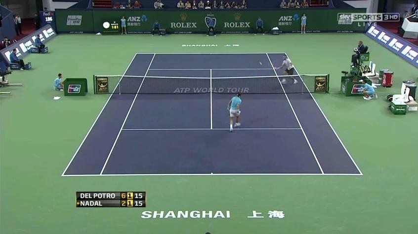 Un match à couper le souffle entre Rafael Nadal et Juan Martin Del Potro en demi-finales du Masters 1000 de Shanghai 2013.