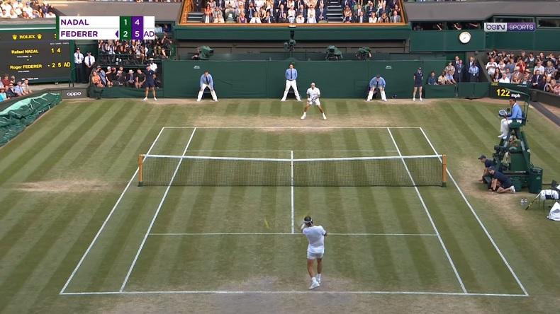 Rafa Nadal sauve deux balles de match contre Federer à Wimbledon 2019 dans un dernier jeu de dingue.