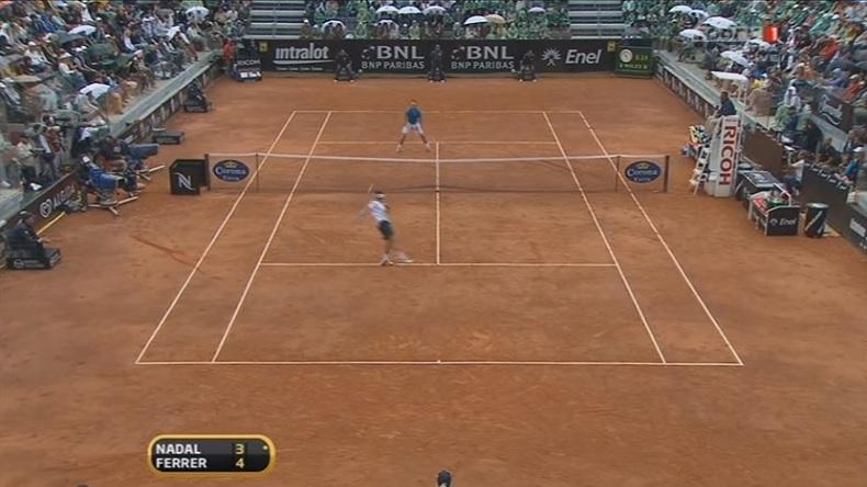 Un point de légende en finale du Masters 1000 de Rome 2010 entre Nadal et Ferrer.