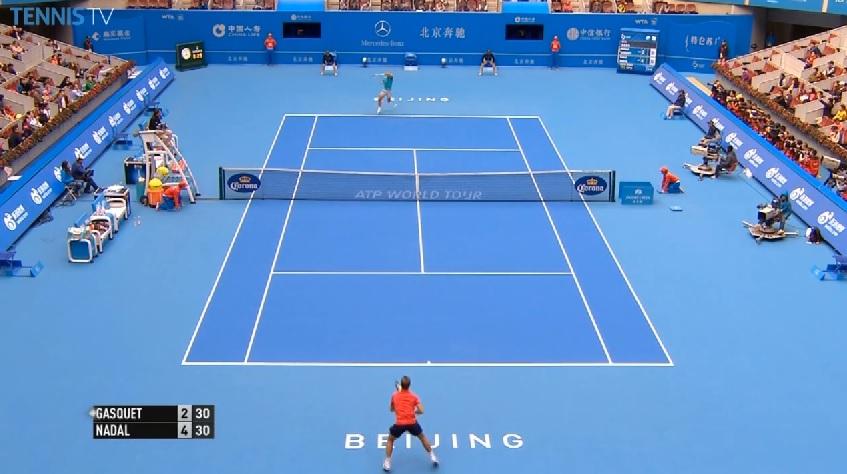Le coup droit de Nadal a fait mal à Gasquet au premier tour du tournoi de Pékin 2014.