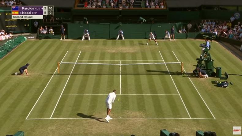 L'ace à la cuillère de Kyrgios contre Nadal à Wimbledon.