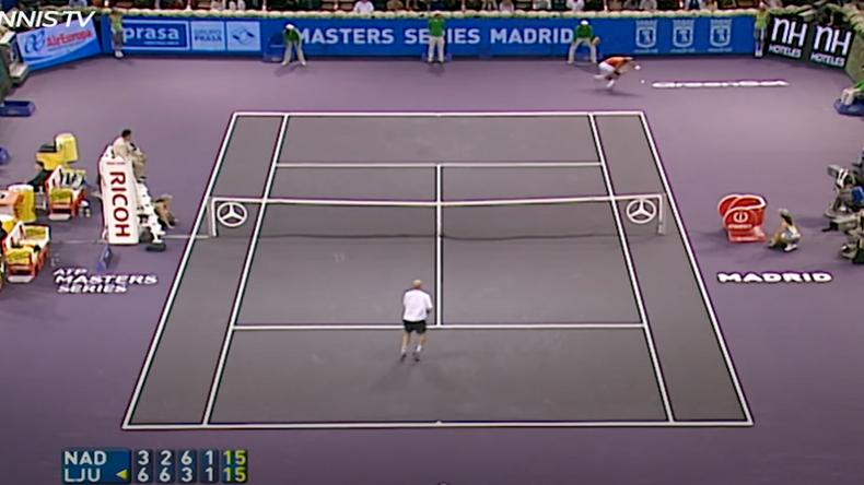 Un passing énorme en bout de course de Nadal contre Ljubicic en finale de Madrid en 2005 : la folle remontada de l'Espagnol.