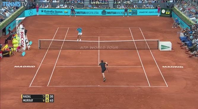 Rafael Nadal fait illusion sur ce point en finale du Masters 1000 de Madrid 2015 mais l'Espagnol a été largement dominé par Andy Murray.