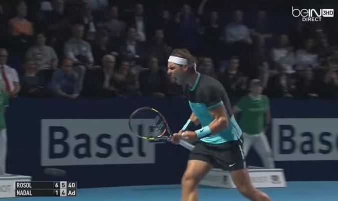 Rafa Nadal a eu chaud contre Lukas Rosol à Bâle.