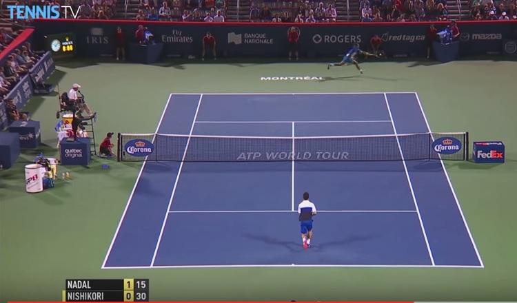 Malgré ce passing monumental, Rafael Nadal a subi contre Kei Nishikori à Montréal.