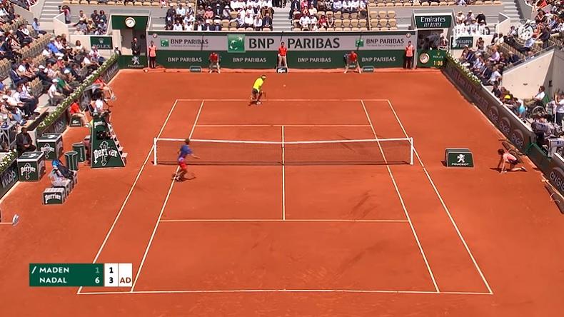 Le coup gagnant dos au filet de Nadal à Roland-Garros 2019.