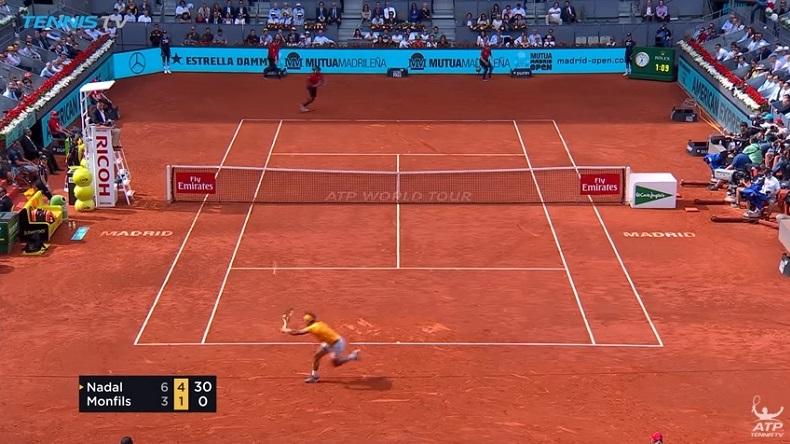 Deux points fabuleux de Nadal contre Monfils à Madrid.