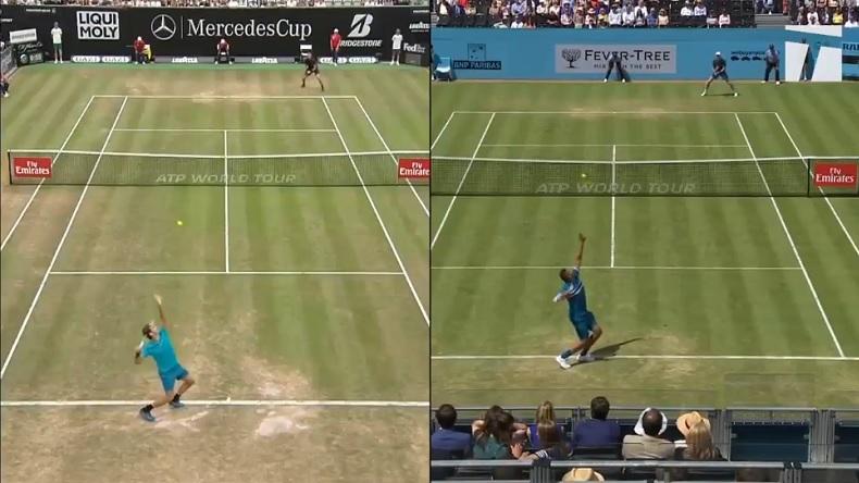 Nick Kyrgios imite le service de Federer pendant son match contre Kyle Edmund au Queen's.