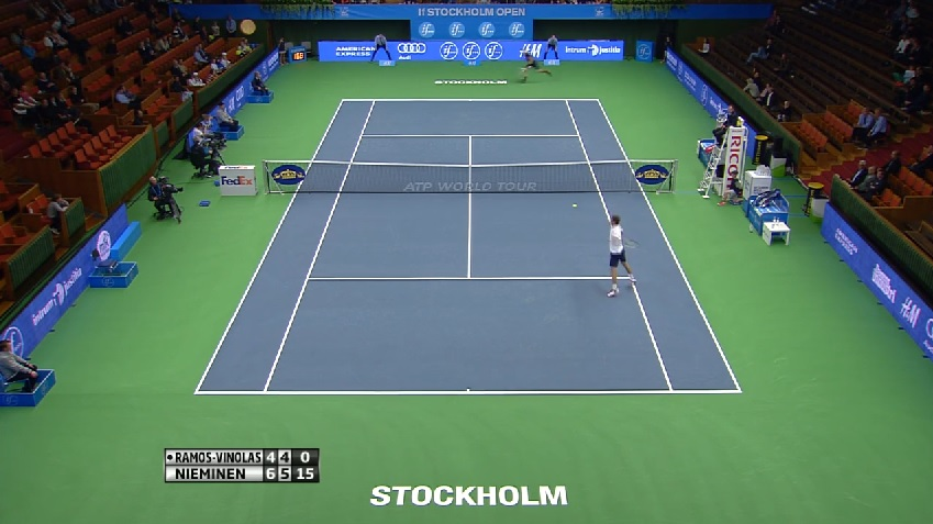 Quelle défense et quel point de Jarkko Nieminen au premier tour du tournoi de Stockholm 2014.