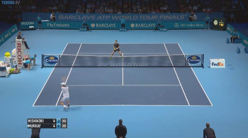 Un superbe passing de revers court croisé de Nishikori contre Murray.