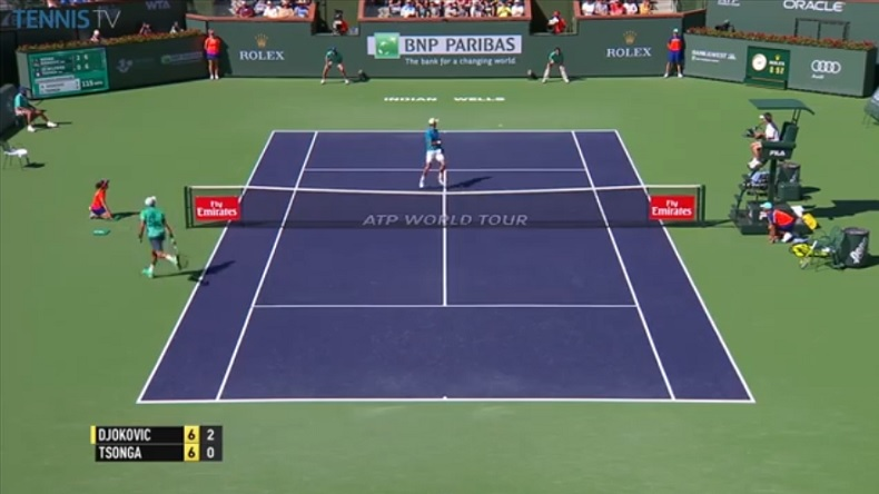 Novak Djokovic,fair-play, donne un point à Tsonga dans le tie-break à Indian Wells.