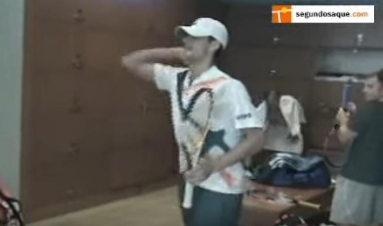 Novak Dkokovic fait des imitations dans les vestiaires de l'US Open en 2007.