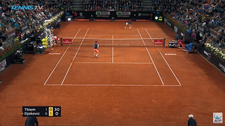 Novak Djokovic corrige Dominic Thiem (1/2 Rome 2017)