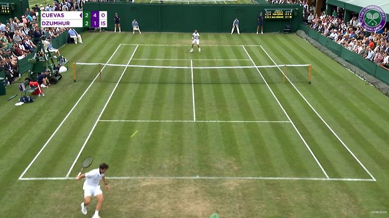 Le trick shot de Pablo Cuevas à Wimbledon 2019.