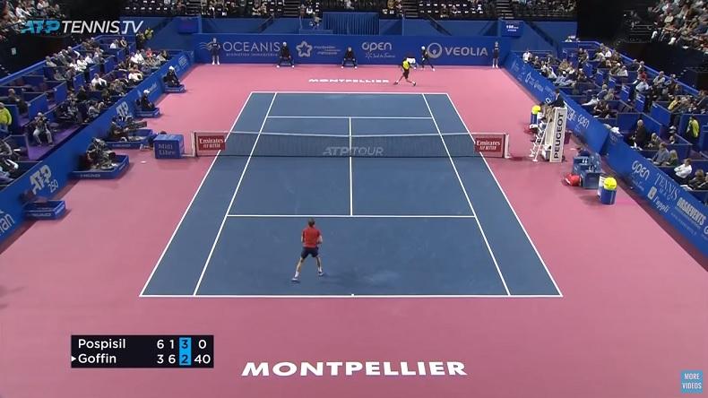 Vasek Pospisil était chaud contre Goffin, dans le troisième, en demi-finales du tournoi de Montpellier 2020.