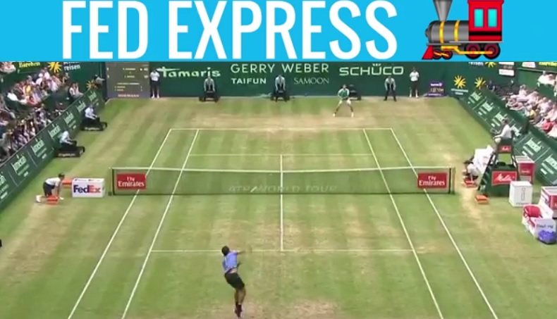 Le Fed Express conclut le premier set contre Mayer sur un jeu de 46 secondes (Halle 2017)