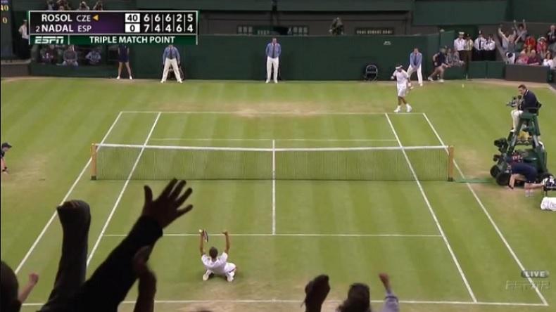 Lukas Rosol n'a mis quasiment que des coups gagnants sur son service dans le cinquième set contre Nadal.