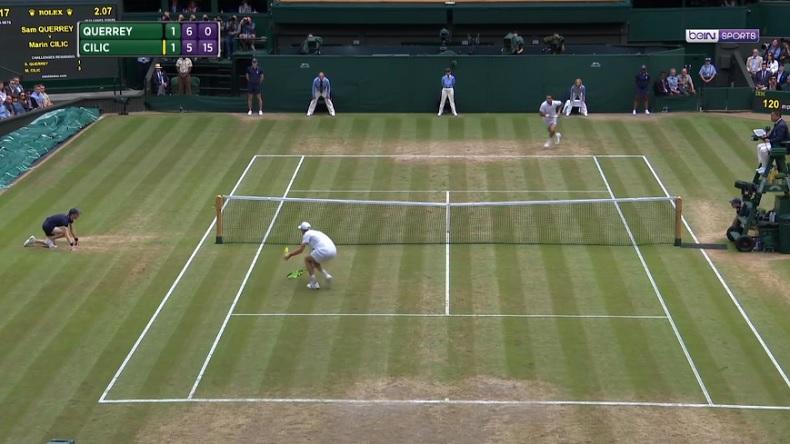 Sam Querrey fait une merveille de volée amortie (1/2 Wimbledon 2017)