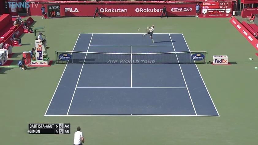 Un balle de match énorme sauvée par Gilles Simon au tournoi de Tokyo 2014.