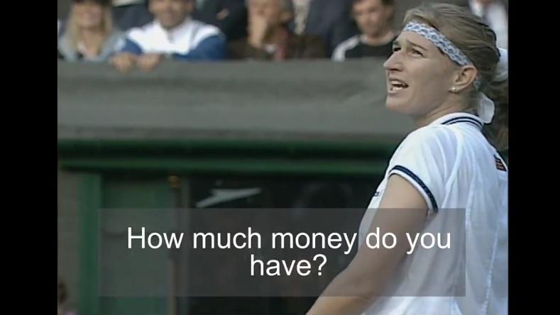 """""""How much money do you have ?"""" La réplique culte de Steffi Graf à une demande en mariage d'un spectateur lors de Wimbledon 1995."""