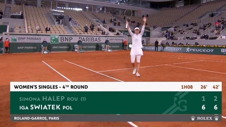 Iga Swiatek a mis une correction à Simona Halep, en huitièmes de finale de Roland-Garros 2020.