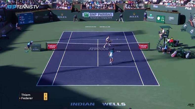 Thiem fait amortie-lob à Federer en finale du Masters 1000 d'Indian Wells 2019. Plus de respect pour le GOAT.