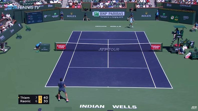 Dominic Thiem a envoyé du très lourd en revers contre Milos Raonic en demi-finales à Indian Wells.