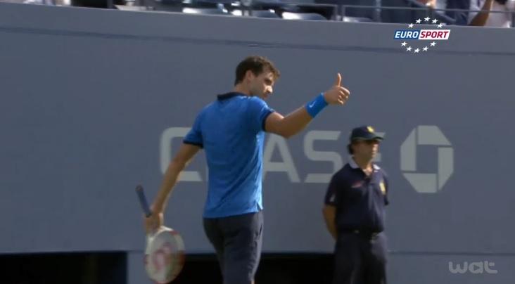 Les 10 meilleurs points de l'US Open 2014. Grigor Dimitrov apprécie.