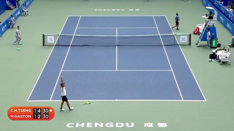 Chun Hsin Tseng n'a pas gagné le match. Il célèbre juste un point de dingue contre Hugo Gaston en demi-finales du Masters Junior 2018.