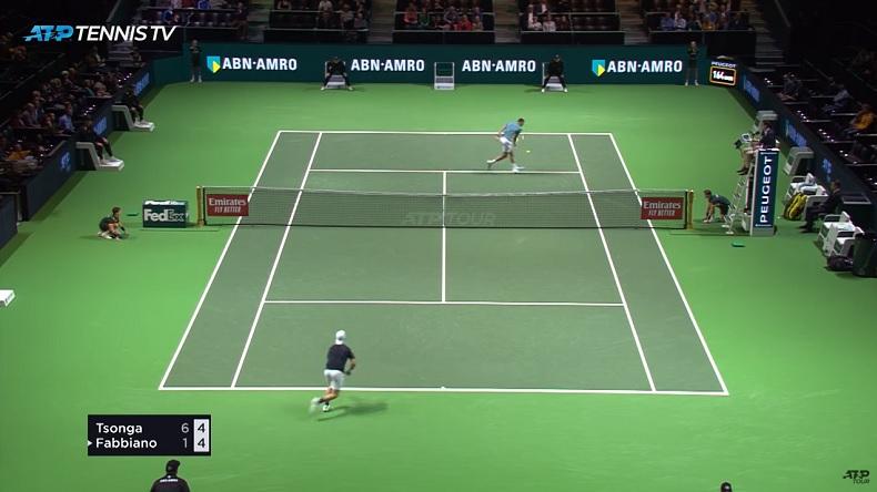 Une demi-volée parfaite de Jo-Wilfried Tsonga au tournoi de Rotterdam 2019.