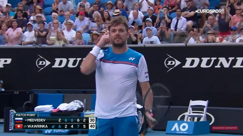 Stan Wawrinka est encore allé chercher un match monstrueux au mental contre Daniil Medvedev, à l'Open d'Australie 2020.