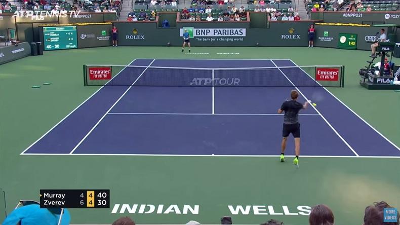 Les highlights du très bon Zverev - Murray à Indian Wells avec des caméras à hauteur du court.