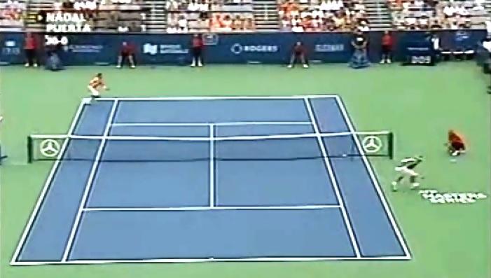 Une contre-amortie venue d'ailleurs de Rafael Nadal en quarts de finale du Masters Series de Montréal 2005.